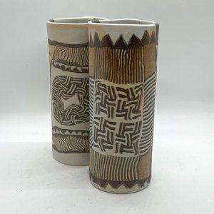 SIEGEL & HALEY Slab Vases STUDIO ART POTTERY (2)